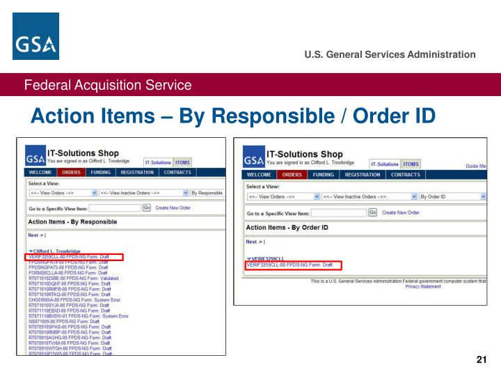 Action Items – By Responsible / Order ID