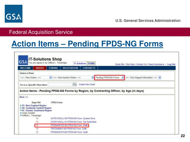 Action Items – Pending FPDS-NG Forms