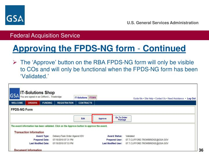 Approving the FPDS-NG form