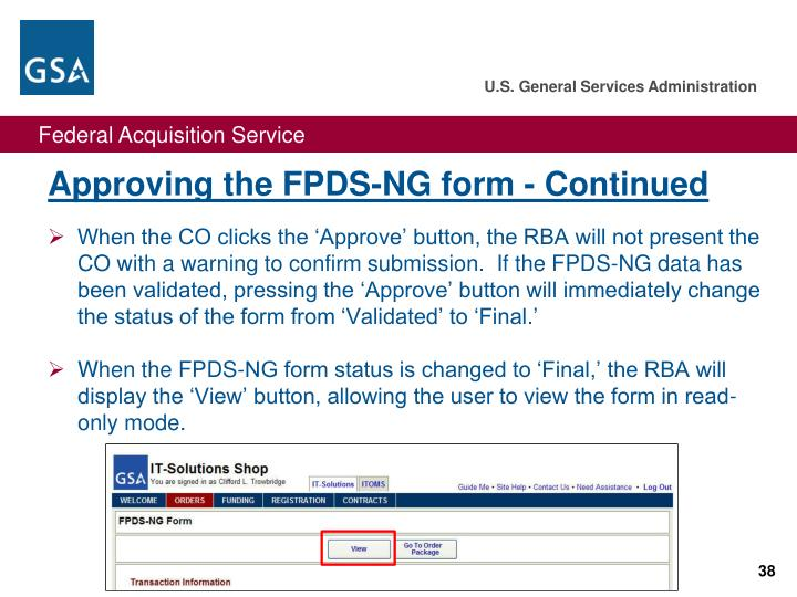 Approving the FPDS-NG form - Continued