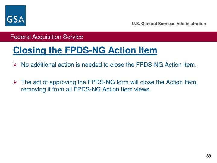 Closing the FPDS-NG Action Item