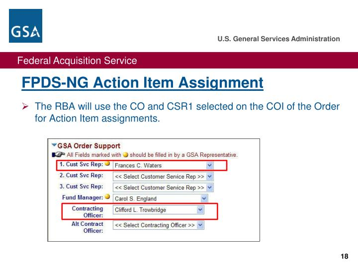 FPDS-NG Action Item Assignment