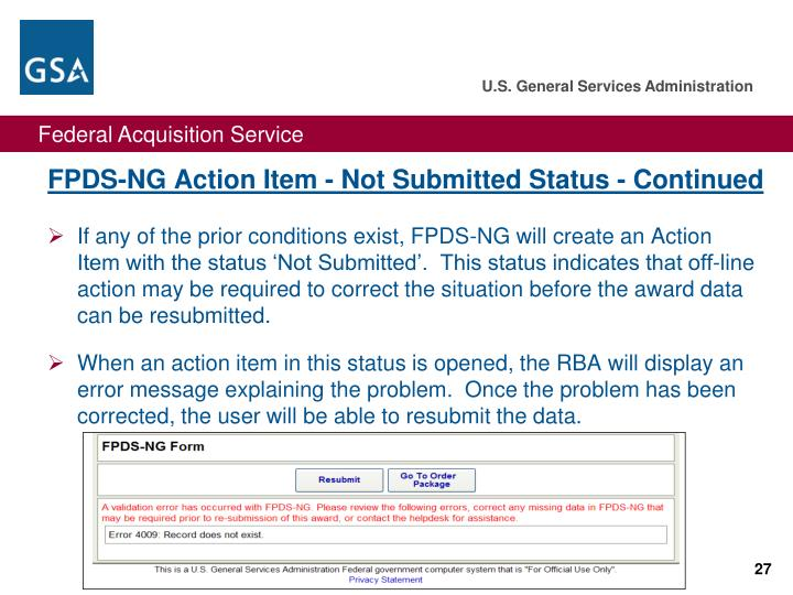 FPDS-NG Action Item - Not Submitted Status - Continued