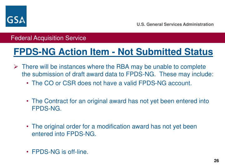 FPDS-NG Action Item - Not Submitted Status