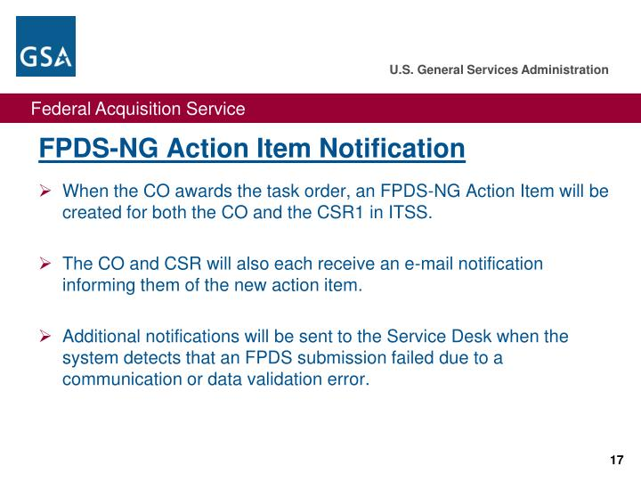 FPDS-NG Action Item Notification