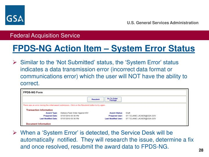 FPDS-NG Action Item – System Error Status