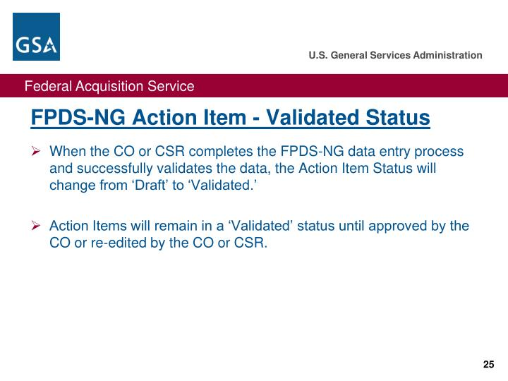 FPDS-NG Action Item - Validated Status
