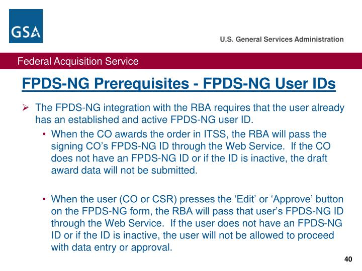 FPDS-NG Prerequisites - FPDS-NG User IDs