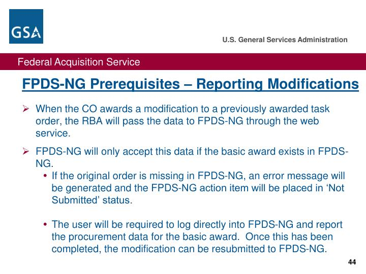FPDS-NG Prerequisites – Reporting Modifications