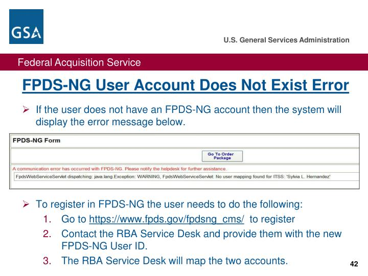 FPDS-NG User Account Does Not Exist Error