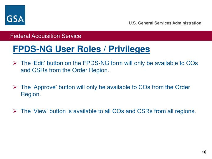 FPDS-NG User Roles / Privileges