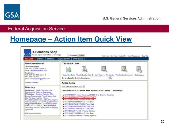 Homepage – Action Item Quick View