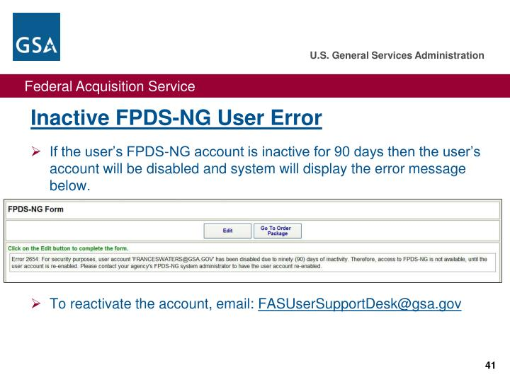 Inactive FPDS-NG User Error