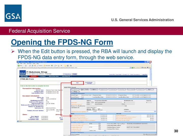 Opening the FPDS-NG Form