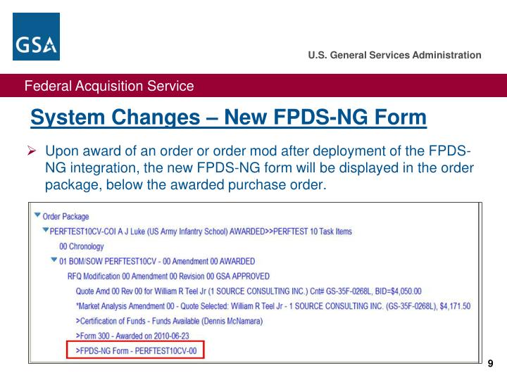 System Changes – New FPDS-NG Form
