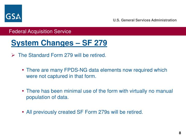 System Changes – SF 279