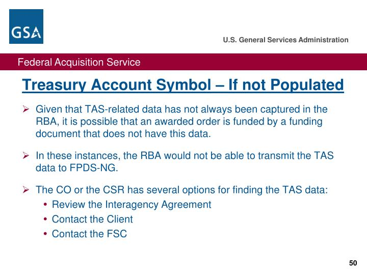 Treasury Account Symbol – If not Populated