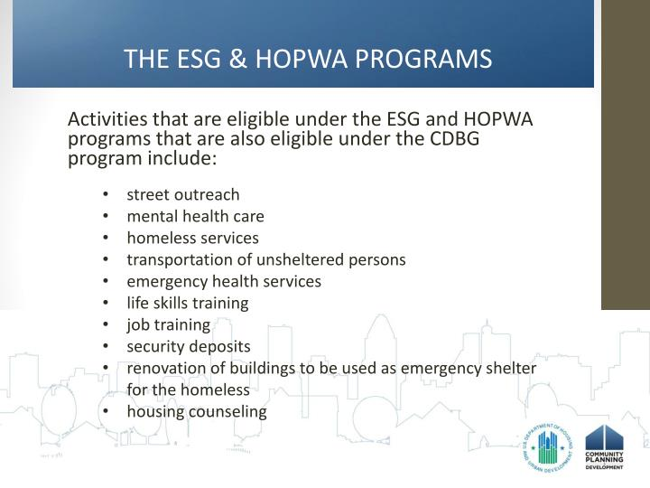 THE ESG & HOPWA PROGRAMS
