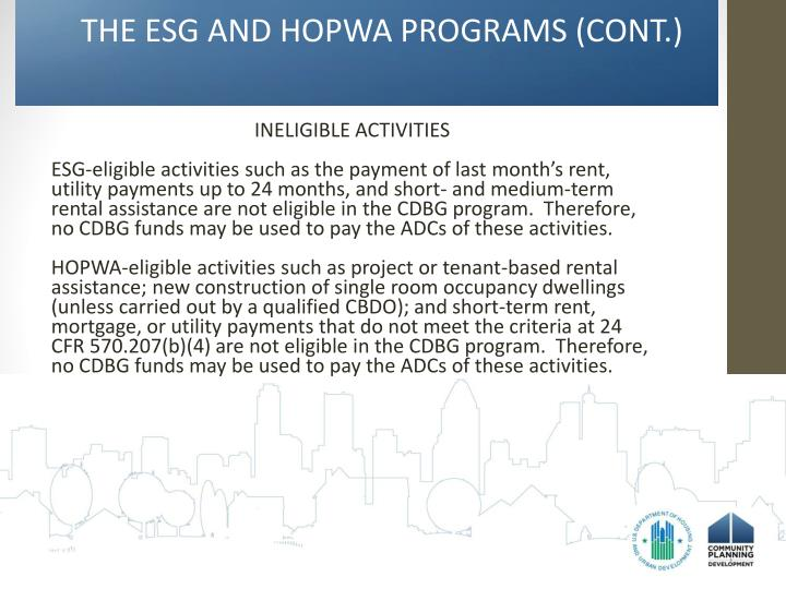 THE ESG AND HOPWA PROGRAMS (CONT.)