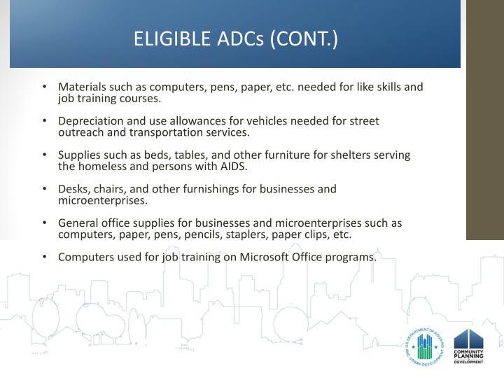 ELIGIBLE ADCs (CONT.)