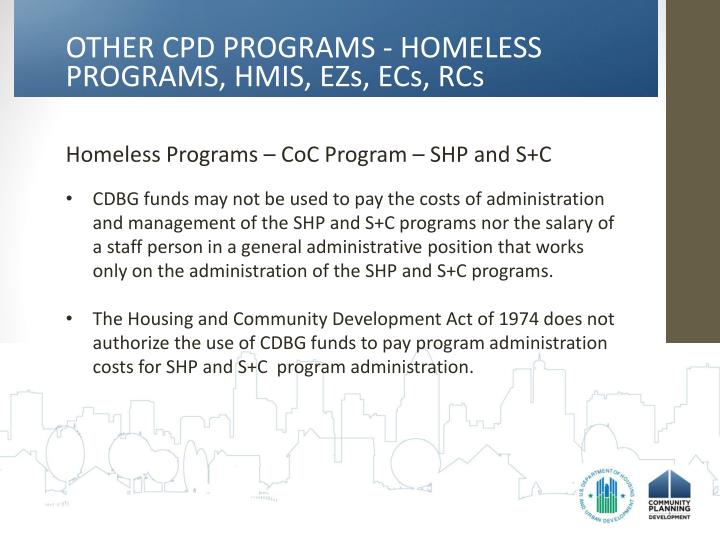 OTHER CPD PROGRAMS - HOMELESS
