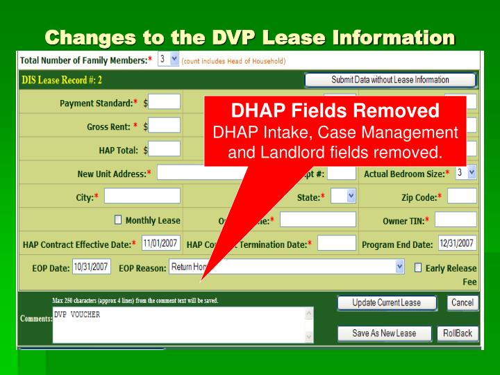 Changes to the DVP Lease Information