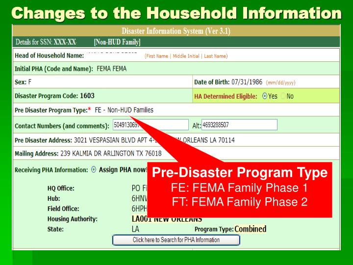 Changes to the Household Information