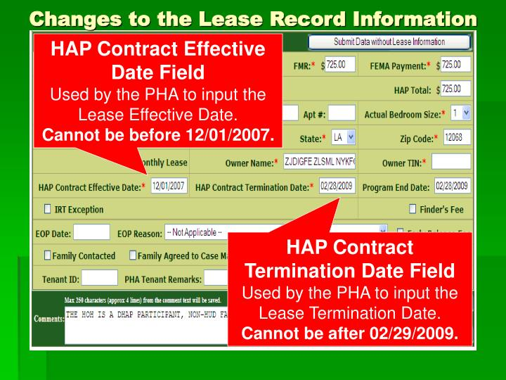 Changes to the Lease Record Information