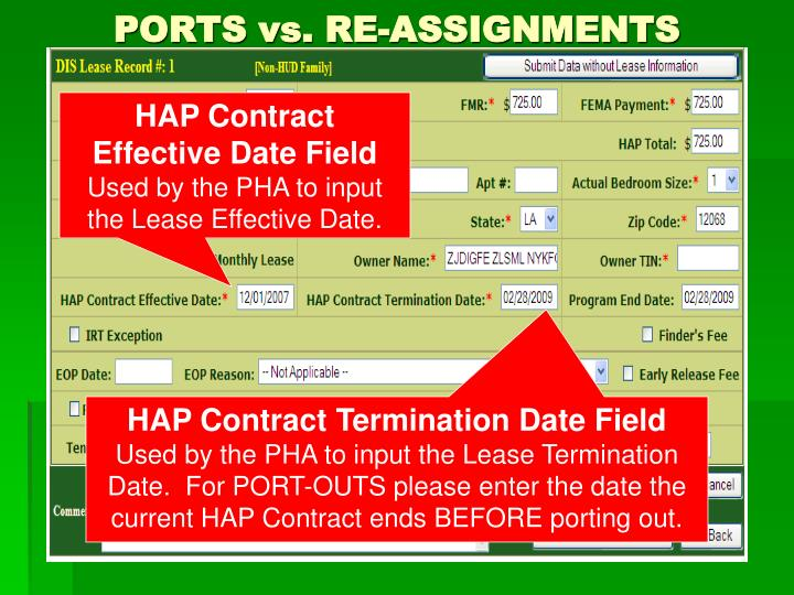 PORTS vs. RE-ASSIGNMENTS