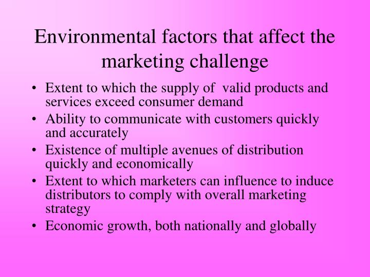 Environmental factors that affect the marketing challenge
