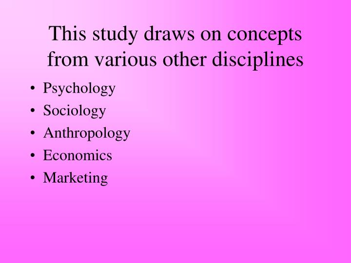 This study draws on concepts from various other disciplines
