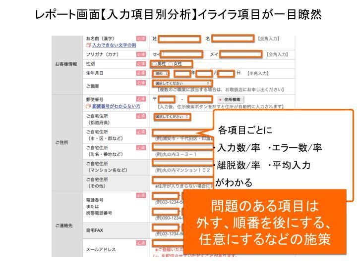 レポート画面【入力項目別分析】イライラ項目が一目瞭然