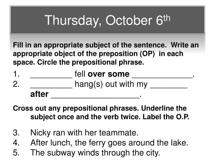 Thursday, October 6