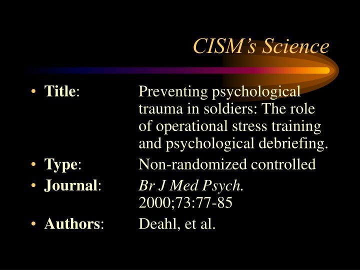 CISM's Science