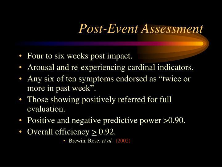 Post-Event Assessment