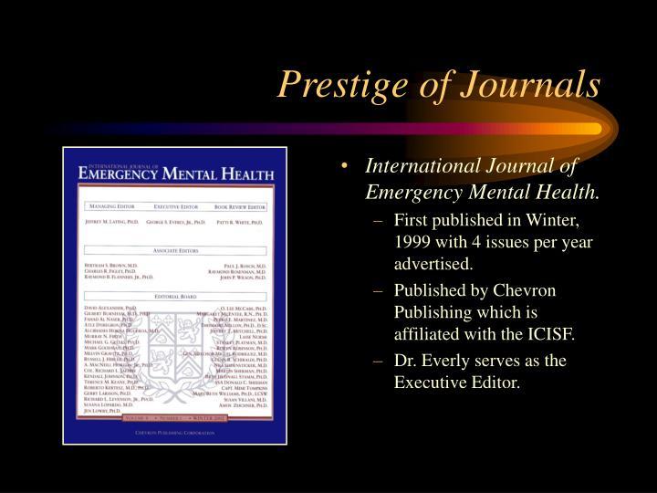 Prestige of Journals