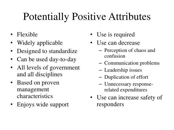 Potentially Positive Attributes
