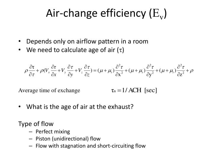 Air change efficiency e v