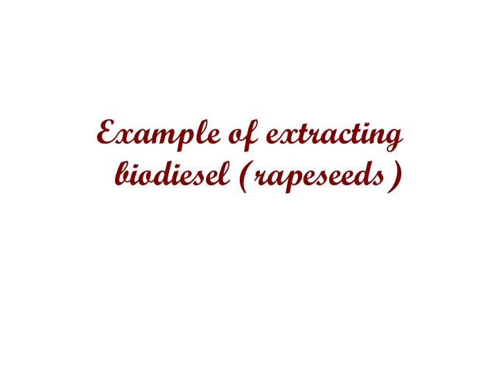 Example of extracting biodiesel (rapeseeds)