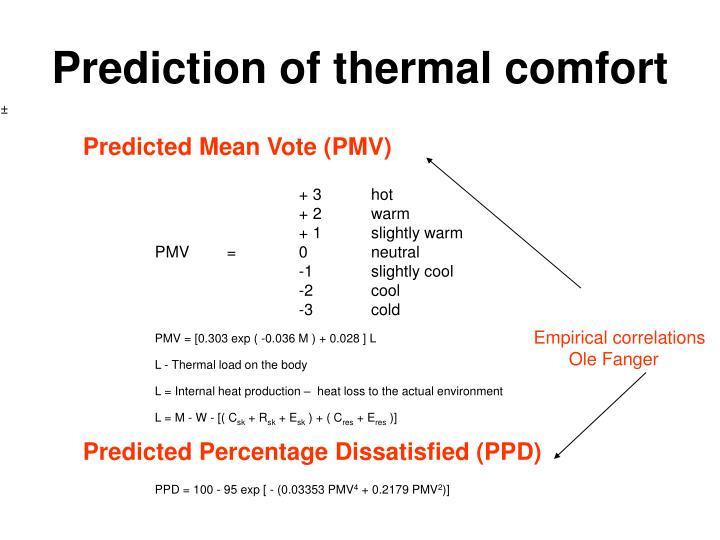 Prediction of thermal comfort
