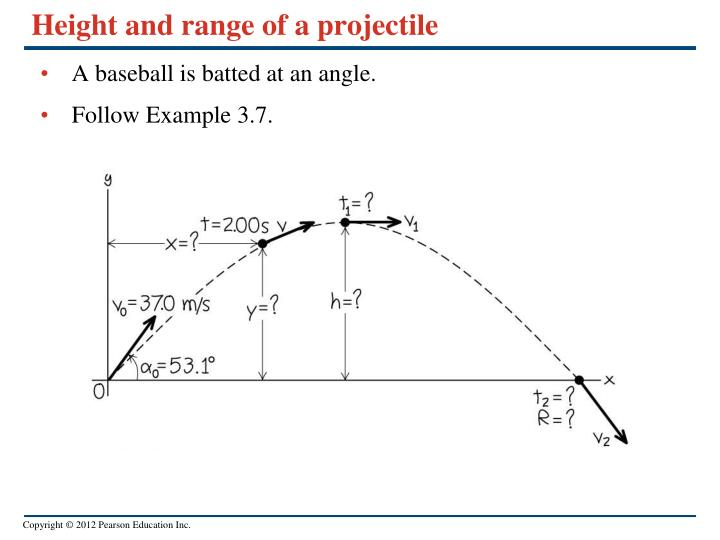 Height and range of a projectile