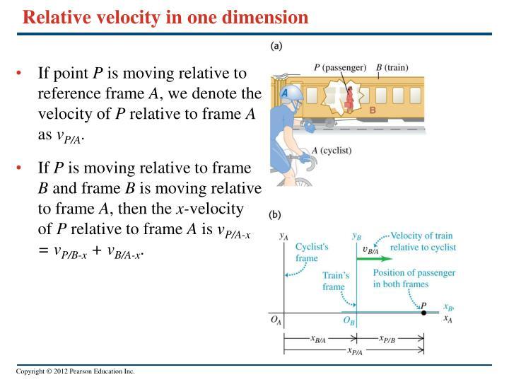 Relative velocity in one dimension