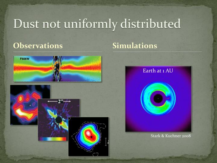 Dust not uniformly distributed