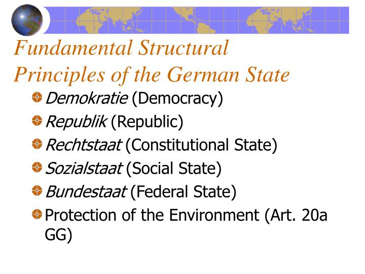 Fundamental Structural Principles of the German State