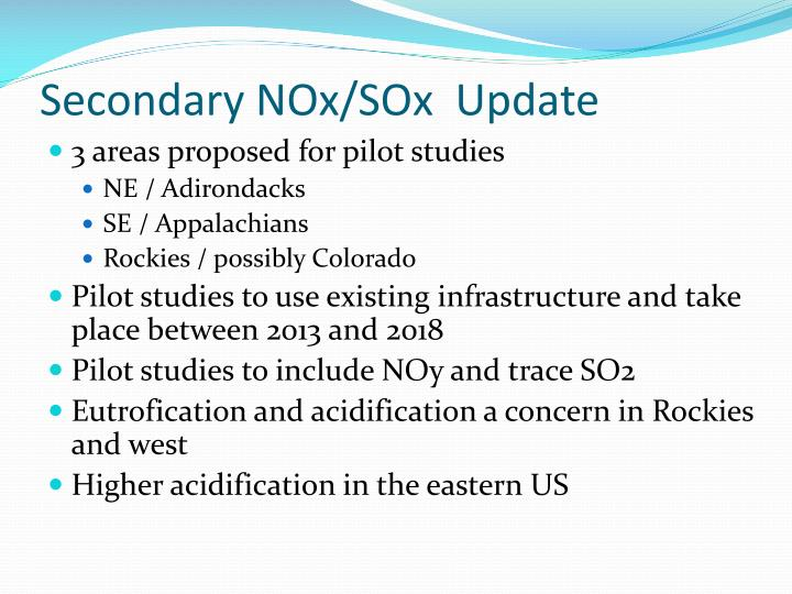 Secondary NOx/SOx  Update