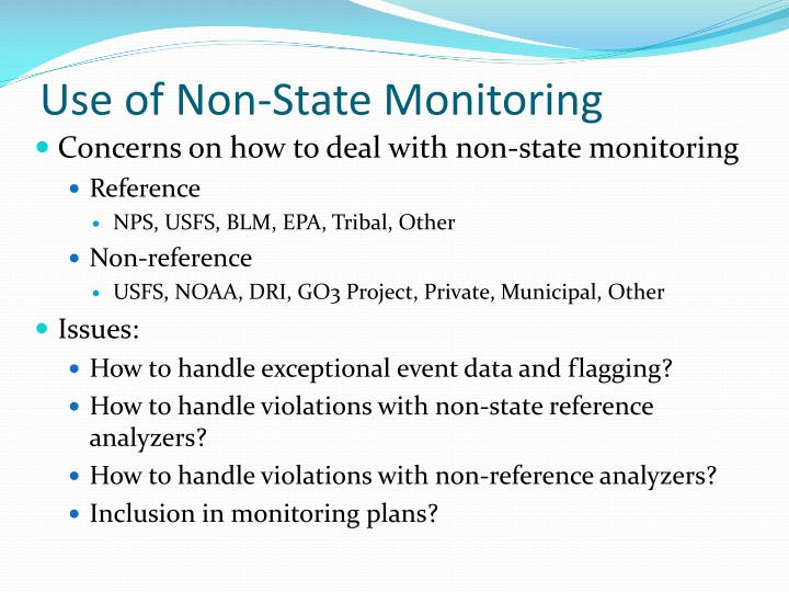 Use of Non-State Monitoring