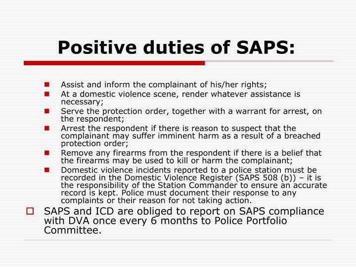 Positive duties of SAPS: