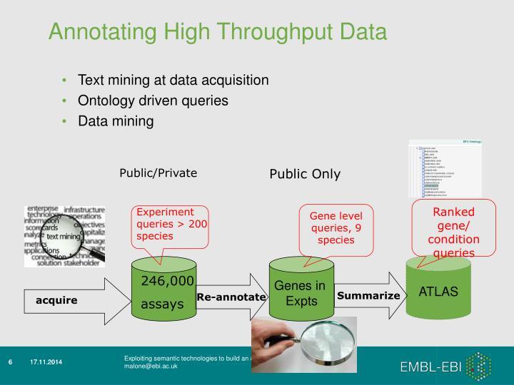 Annotating High Throughput Data