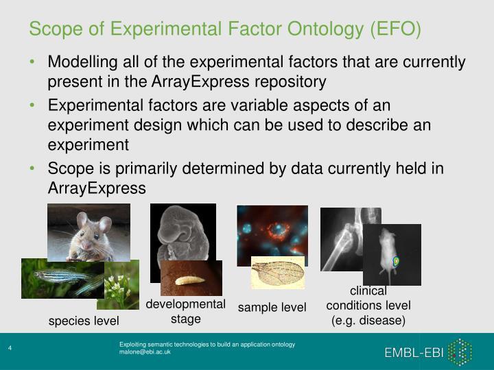 Scope of Experimental Factor Ontology (EFO)
