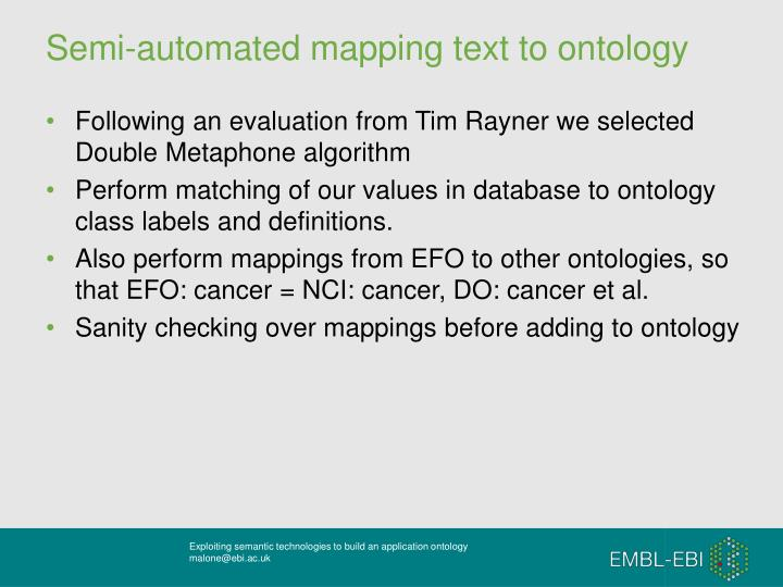 Semi-automated mapping text to ontology